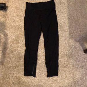 Black jeggings with dressy seams